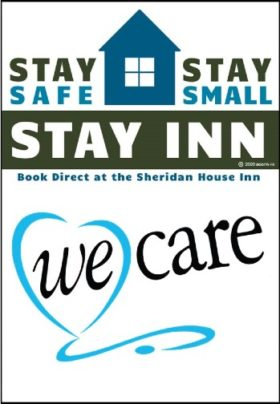 Green and Blue Stay Safe Stay Small Stay Inn logo with We Care Text below.