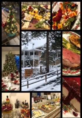 collage of winter and christmas dinner and decorations